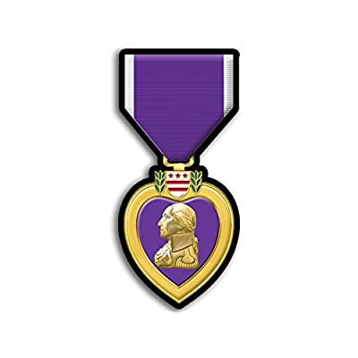 Purple Heart Medal Shaped Sticker (Defense Merit Honor Ribbon Vet Veteran): Automotive