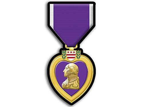 Purple Heart Medal Shaped Sticker American Vinyl Defense Merit Honor Ribbon Vet Veteran