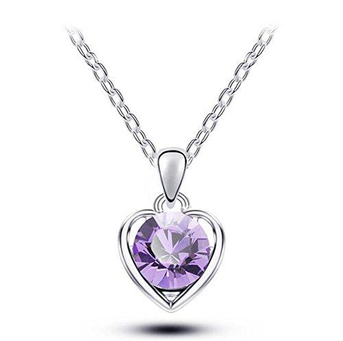 [Next-Fri Korean Crystal Pendant Necklace Women Alloy Pendant Lady Jewelry(Purple-silver)] (Diy Pageant Girl Costume)