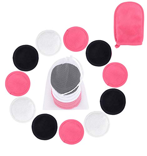 Luxury Reusable Makeup Removing Pads and Microfiber Face Cleansing Gloves -|Reusable Cotton Rounds, laundry bag & 1 Black Makeup Remover Mitts | Little Footprint (Multi)