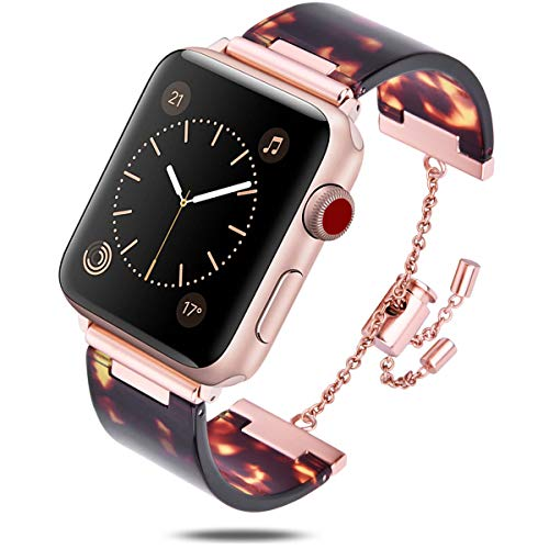 V-MORO Resin Bracelet Compatible with Apple Watch Band 42mm 44mm iWatch Series 4/3/2/1 with Stainless Steel Buckle Copper Replacement Wristband Strap Women Men(Tortoise-Tone, 42mm(5.5''-8.26''))
