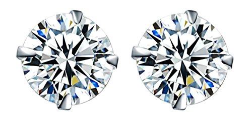 Earring Stud, 18K White Gold Plated Silver Diamond Stud Earrings