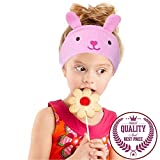 Charlxee Wired Kids Headphones with Microphone 85dB Volume Limited Ultra-Thin Adjustable 1/8'' Removable Speakers Soft Children Fleece Washable Headband Eye Mask for Travel and Home-Bunny