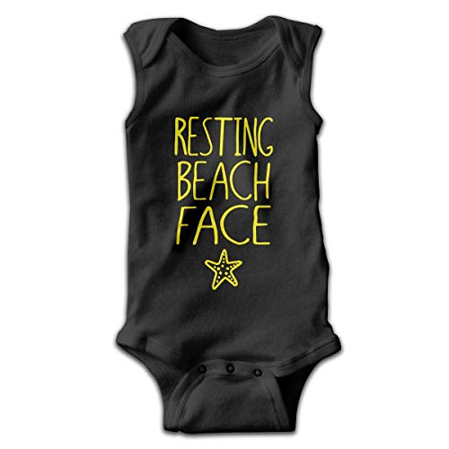 Wave VV Newborn Resting Beach Face Starfish Sleeveless Climbing Clothes Bodysuits Onesies 100% Cotton Black