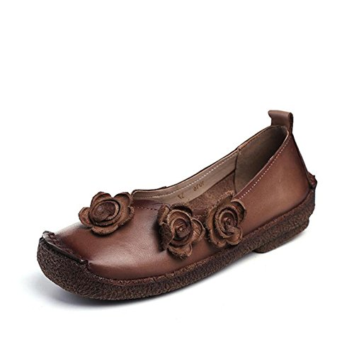 Shoes Colore Ladies Mocassini Bottom Donna Slip Mom Shoes Soft da B Flat On Dimensione Comfort Pelle in 38 Walking A0qRwA