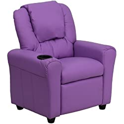 Flash Furniture Contemporary Lavender Vinyl Kids Recliner with Cup Holder and Headrest