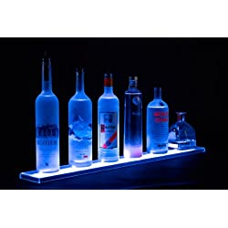 "Armana Productions Home Bar Light Shelves - Made in the USA - 2' Long RGB LED Wireless Remote Controlled Illuminated Bottle Shelf - 4.5"" Wide"
