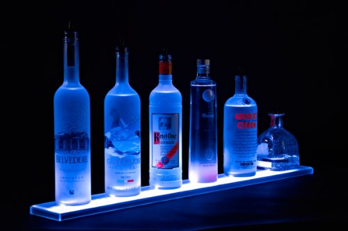 Home Bar Light Shelves - Made in the USA - 2' Long RGB LED Wireless Remote Controlled Illuminated Bottle Shelf - 4.5