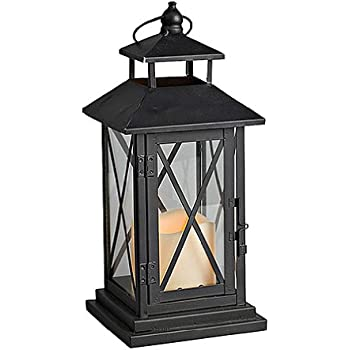 gerson metal and plexiglass crossbar lantern with 3 by 3inch resin led