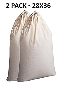 Cotton Craft - 2 Pack Extra Large 100% Cotton Canvas Heavy Duty Laundry Bags - Natural Cotton - 28x36 - Versatile - Multi Use