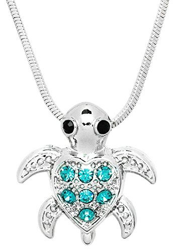 [Small Heart Shaped Sea Turtle Pendant Necklace - Choose Pink, Green or Teal Blue Crystals (Teal] (My Little Mermaid Costumes)