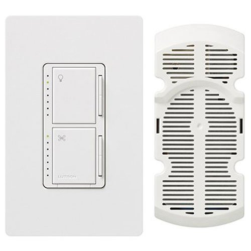 Ceiling fan dimmer switch amazon lutron ma lfqhw wh maestro fan control and dimmer kit white aloadofball Choice Image