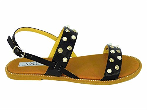Ladies Womens Studded Flat Ankle Buckle Strappy Summer Sandals Shoes UK Size 3-8 Black (X1703-2) TS2UBmTG