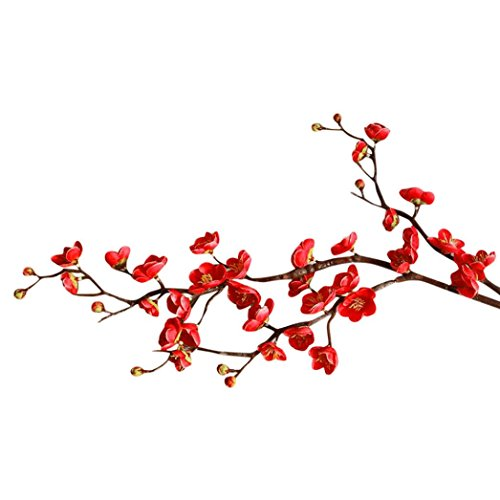 Artificial Flowers,Clearance! Plum Blossom Artificial Fake Silk Plants Wedding Party Decoration Real Touch Flowers DIY Home Garden (Red) -