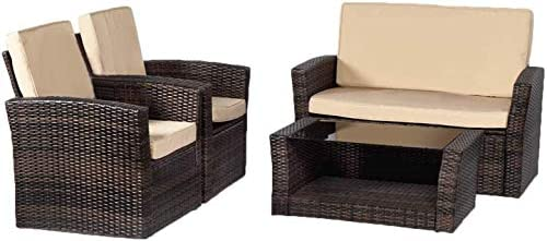 FDW Sectional Sofa Rattan Chair Wicker Conversation Set Outdoor Backyard Porch Poolside Balcony Garden Furniture with Coffee Table, Brown