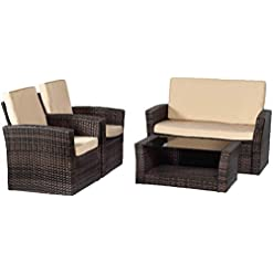 Garden and Outdoor FDW Sectional Sofa Rattan Chair Wicker Conversation Set Outdoor Backyard Porch Poolside Balcony Garden Furniture with… patio furniture sets