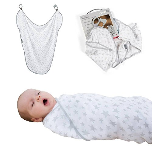 Swaddling Blanket : 100% Organic Muslin Swaddles : 6 Clever Uses Nursing Cover, Burp Cloth, Baby Blankets, Stroller Cover, Teether : With Attachable Silicone Clasps, Silver Stars by Cheeky Chompers
