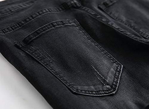 Black Metà Elasticità Maschi Dritto Versaces Vita Vestibilità Slim Tempo Jeans Libero Piccolo Pantaloni Ginocchio Della w6AA4q