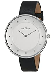 Skagen Womens SKW2232 Gitte Stainless Steel Watch with Black Leather Band