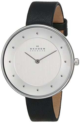 Skagen Women's SKW2232 Gitte Stainless Steel Watch with Black Leather Band