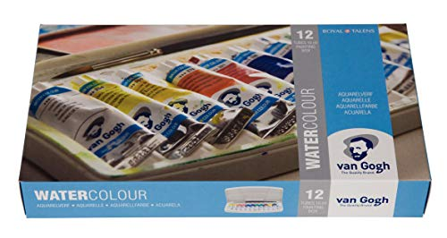 (Van Gogh Watercolor Paint Set, Plastic Pocketbox, 12x10ml General Selection)