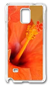 MOKSHOP Adorable hibiscus flower Hard Case Protective Shell Cell Phone Cover For Samsung Galaxy Note 4 - PC Transparent
