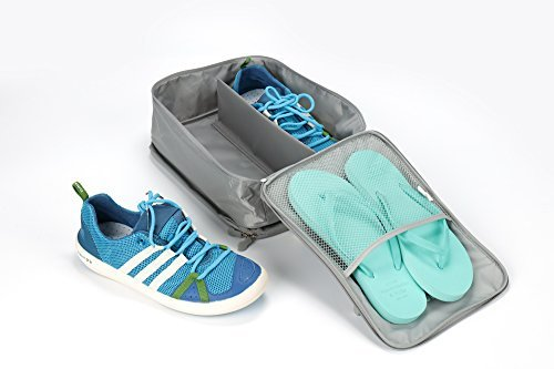 Travel Shoe Bag, MoreTeam 3 in 1 Shoe Storage Bag Holds 3 Pair of Shoes, Seperate Your Shoes From Clothes, Portable and Save Space for Men, Women, Gym, Easy And Quick Access To Your Shoes (Grey) by MoreTeam (Image #2)