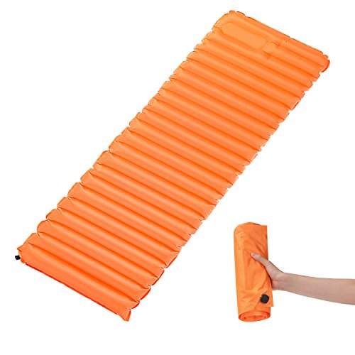 Rhino Valley Ultra Light Self-inflating Sleeping Pad, TPU Portable Air Mattress Manual Pressure Inflation for Outdoor Camping, Hiking, Trekking, Backpacking and Water Activities, Medium Size, ORANGE by Rhino Valley
