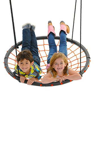 Giant Spider Web Tree Swing, Orange - Supports 400 Pounds, 40 Inch Diameter, Space for Multiple Children to Swing Together by Swinging Monkey Products
