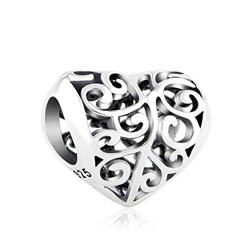 Lovans 925 Sterling Silver Heart Charm for Pandora Bracelets]()