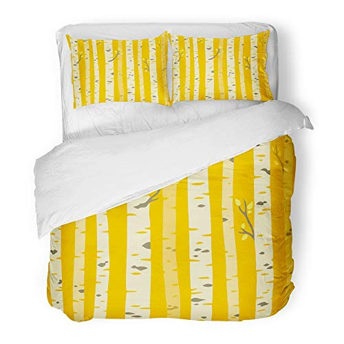 Emvency Decor Duvet Cover Set Twin Size Orange Abstract Autumn Aspen Grove Tileable Pattern Birch Trees with Yellow Leaves 3 Piece Brushed Microfiber Fabric Print Bedding Set Cover]()