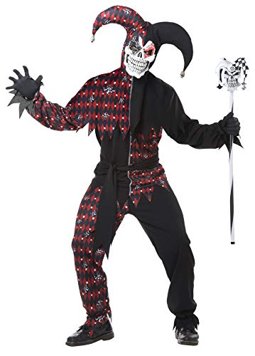 Men's Sinister Jester's Fool Psycho Clown Outfit Adult Halloween Costume, XL (44-46)