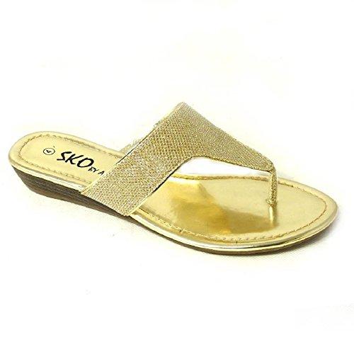 SKOS - Sandalias de vestir de Material Sintético para mujer Gold (H276-2Q)