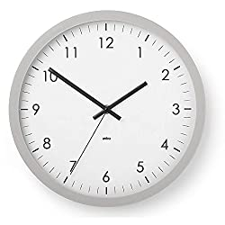 Umbra Wall Clock - 12 Round Plastic Frame - Battery Operated - Decorative Wall Clock for Kitchen, Nursery, Office, School, Hospital - With Silent Second-Hand