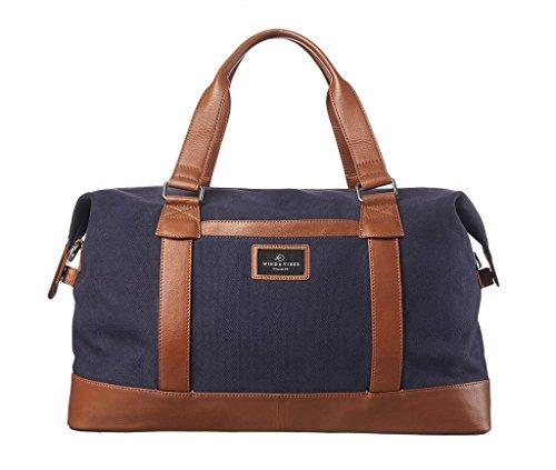 """WIND & VIBES BLOUBERG """"LEATHER"""" - Weekender Reisetasche aus Baumwoll Canvas und Echtleder (Handgepäckmaße). Handgefertigte Design Tasche aus marineblauem Canvas und Cognac Leder."""