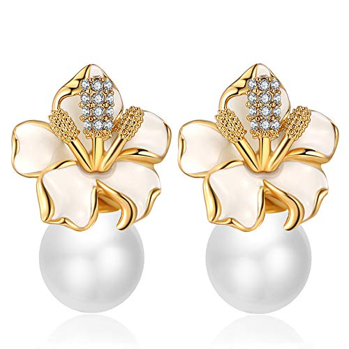 (XZP Simulated Pearl White Flower Stud Earrings for Women Gold Plated Jewelry)