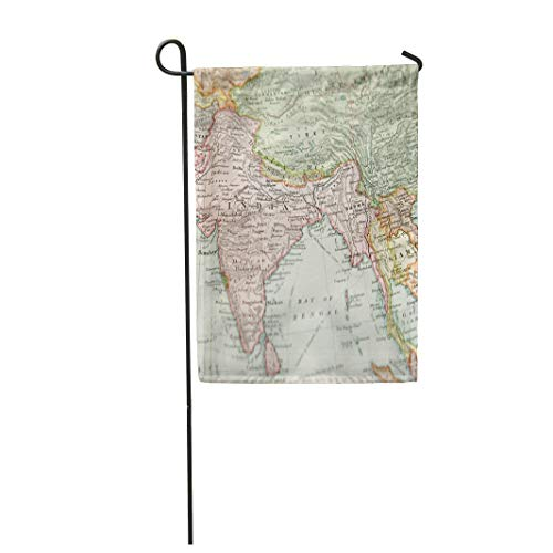 Tarolo Decoration Flag India Vintage 1907 Copyrighted Expired Map of Europe and Asia Antique Old Myanmar Thick Fabric Double Sided Home Garden Flag 12