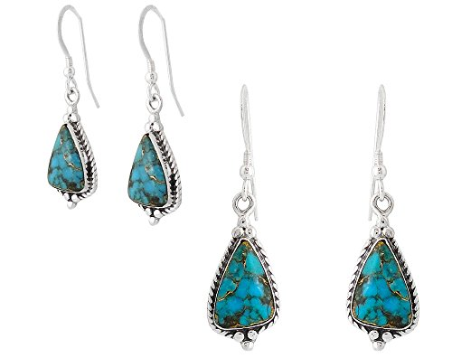 925 Sterling Silver Earrings Genuine Copper-Infused Matrix Turquoise Drop Dangles (Teal/Matrix)
