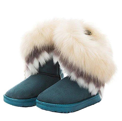 Huagmei Femmes Hiver Daim (cuir) Neige Bottines Fausse Fourrure Chaussures Plates Bleu