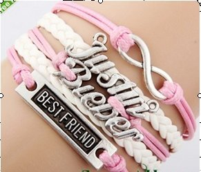Justin Bieber belieber Multi Strap charm bracelet with JB Special Gift Box (BestFriend-Pink-FastShip)