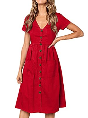 Yodeling Women's Short Sleeve V Neck Pleated Loose Swing Casual Dress with Pockets