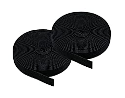 iMBAPrice (Pack of 2) 5 yard Cable Fastening Tape with .75 inch Hook (Black)