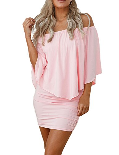 Sidefeel Women Off Shoulder Ruffles Party Mini Dress Large Pink