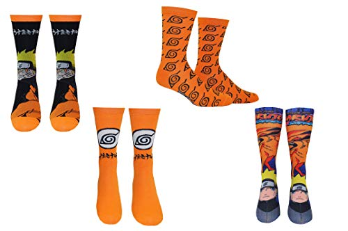 Naruto Shippuden Socks Cosplay (4 Pair) - (1 Size) Naruto Kyuubi Socks Costume Crew Socks Women & Men's (Naruto Shippuden Ultimate Ninja Storm 4 Mac)