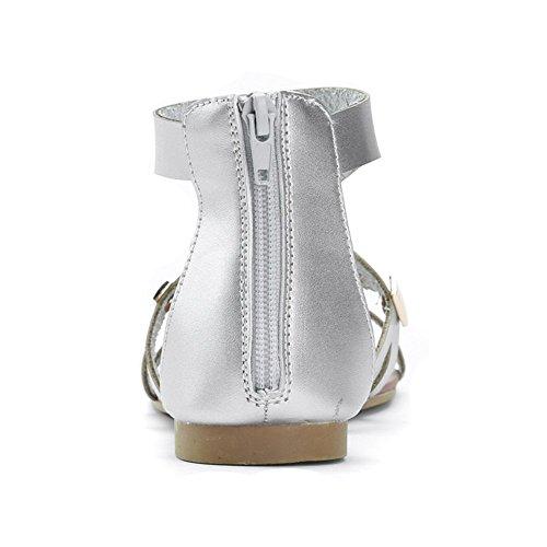 Alexis Leroy - Sandalias metalizadas estilo gladiador para muje Plata