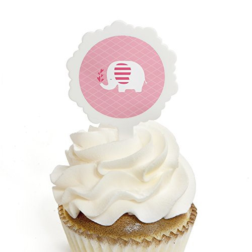 Pink Elephant - Cupcake Picks with Stickers - Girl Baby Show