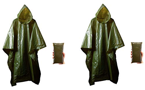 2 Pack Survival Lightweight Rain Gear Poncho Emergency Survival Cover Shelter Norwegian Military Style
