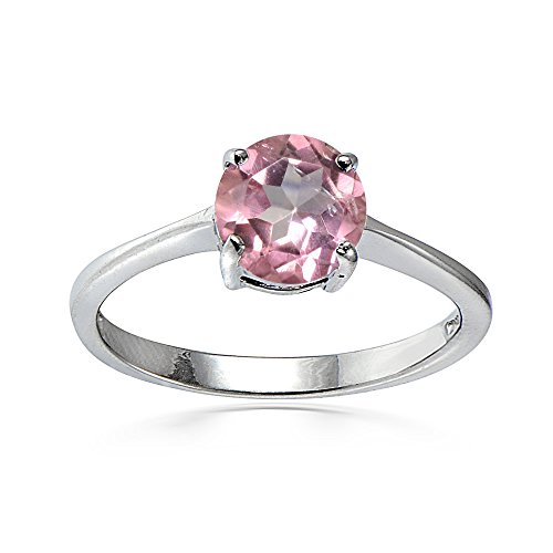 Ice Gems Sterling Silver Treated Light Pink Topaz Round 6mm Solitaire Ring, Size 7