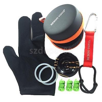 Beboo N11 Aluminum YoYo w/ String Glove Classic Kids Toy Black Ball Case Set