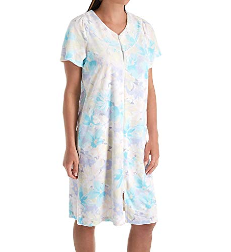 (Miss Elaine Terry Floral Short Zip Robe (834009) L/Multi Watercolor)